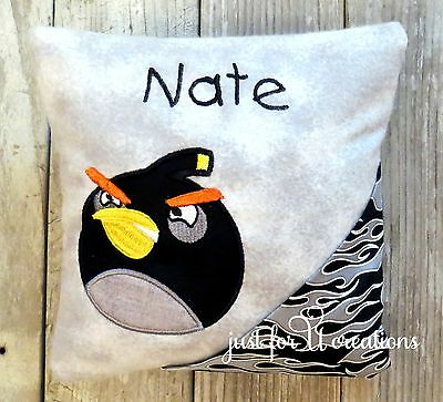 Boy's Personalized Embroidered Angry Bird Black Bird Design Tooth Fairy Pillow