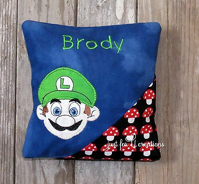 Boy's Personalized Embroidered Luigi Face Design Tooth Fairy Pillow