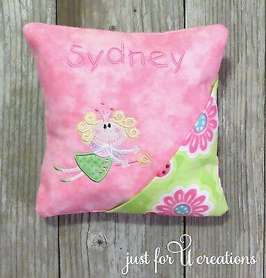 Girl's Personalized Embroidered Curly Hair Fairy Design Tooth Fairy Pillow