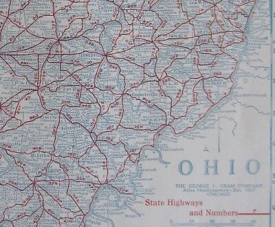 c1920 OHIO Map AUTO TRAILS Map of Ohio State Map Ohio Road Map