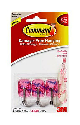 3M Command Perfectly Pink Wire Hooks 3 Hooks 4 Small Clear Strips (W4367-P)