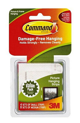 3M Command Small and Medium Picture Hanging Strips Combi Pack (17203) 12 Sets