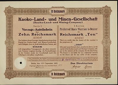NAMIBIA Kaoko Land & Mining Company Berlin Germany 1925 old stock certificate