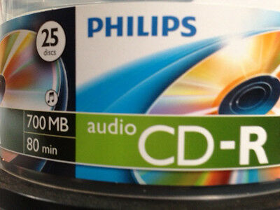25-pk Philips Digital Audio CD-R DA Music Blank Recordable CD Media Disk Disc