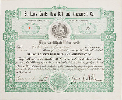 1920 St. Louis Giants Negro League Stock Certificate! Very rare!