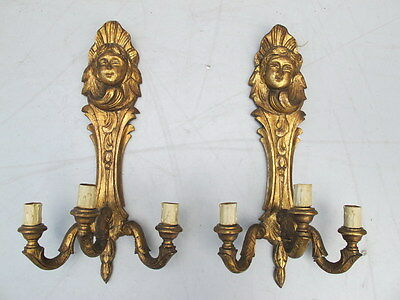 Nice Pair of Carved & Gilt Wood Sconces - 8460