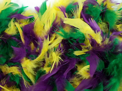 "Purple Green Yellow Feather Boa 72"" 6 Ft Mardi Gras Colors Chandelle 45 GM"