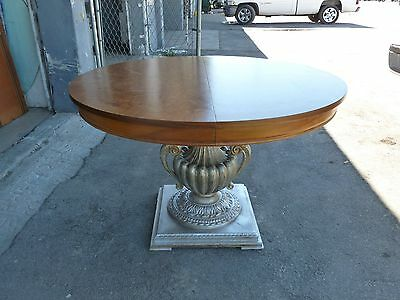 Superb Neoclassical Dining / Center Table W Silver Leaf Urn Base & Burl Wood Top