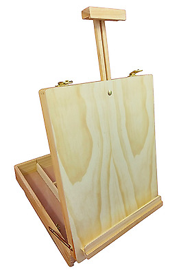 Large Wooden Easel Storage Box Artist Drawing Painting Table Top Display BV46