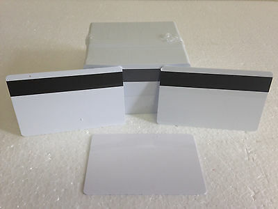 100 x White CR80 PVC Credit Card LoCo Magnetic Stripe .30 mil for ID Printers