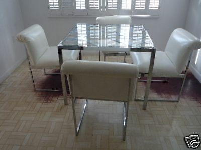 70's D.i.a  Milo Baughman Chrome Chinese Chippendale Table W 4 Chairs