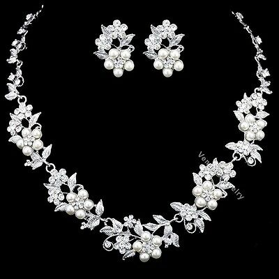 Floral Bridal Wedding Prom Rhinestones Crystal Necklace Earrings Set N336
