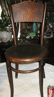 Antique Fischel Czechoslovakia Country Bent Wood Art Chair Alligator Pattern