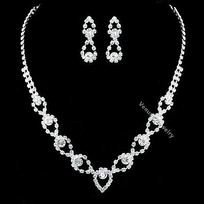 Bridal Wedding Jewelry Prom Rhinestone Crystal Necklace Earrings Set N345