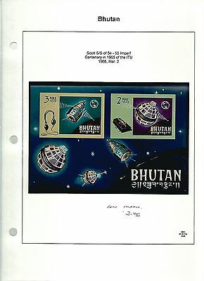 Bhutan, Postage Stamp, Space Topical, #54-55 Mint NH Sheet, 1965 Imperf