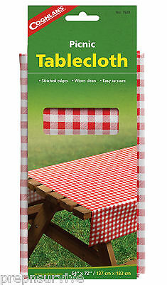 """Picnic Tablecloth Vinyl  Stitched Edges 54"""" X 72"""" Easy Wipe Clean & Store"""