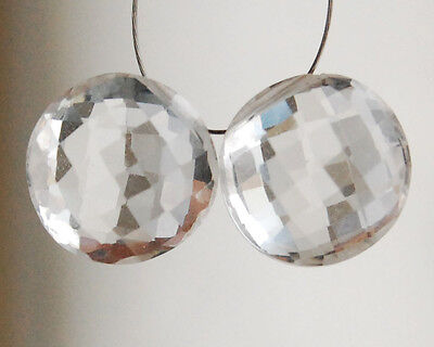 AAA Natural Crystal Faceted Coin Round Briolette Beads Matched Pair