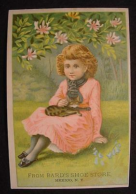 Bards Shoe Store-Mexico New York-Trade Card-Early-Young Girl + Cat