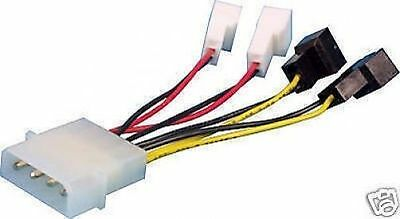 Computer PC Fan Cable - Multi-connector - Up To 4 Fans - 2 Voltages - 12 or 5v