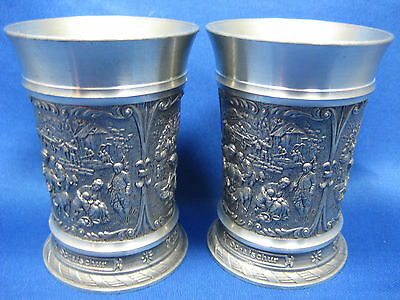 Lot of 2 SKS  Antique  German Solid Pewter Embossed  Cups 3 Scenes Engraved Mark