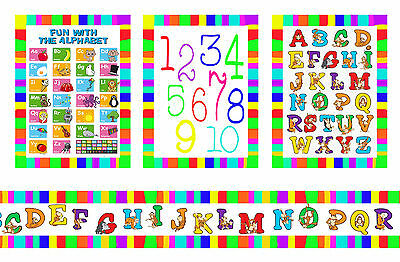Dolls House Wallpaper Border Nursery 55 ins long + 3 posters Alphabet 1/12 B31P