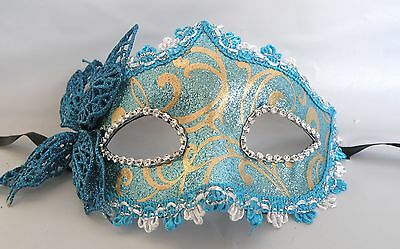 Butterfly Venetian Masquerade Party Face Mask - Blue and Gold - * New *