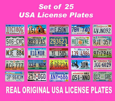 25 Usa License Plates Set United States Number Tag Lot Real Best Quality Us Look