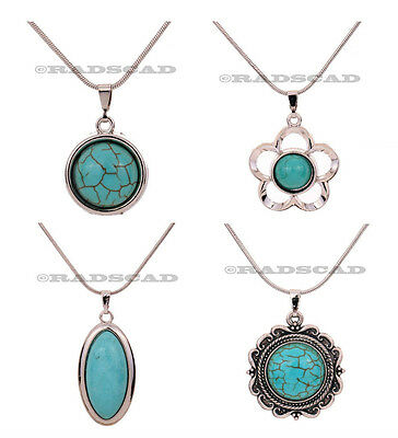 Tibetan Silver Style And Turquoise Necklace Chain Pendant Charm Vintage  X06