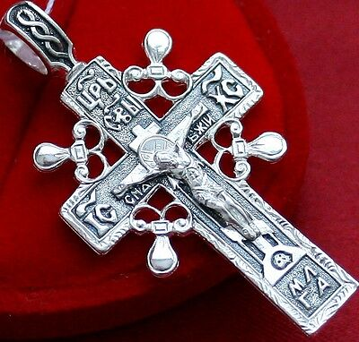 Old Style Big Russian Orthodox Icon Cross, Silver 925. Best Price ! Sale !!!