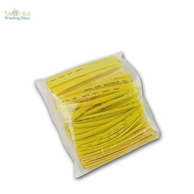 100 Piece Heat Shrink Tube Yellow, Insulating Hose Range, Set Loose in Bag