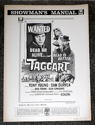 TAGGART original 1964 movie pressbook LOUIS L'AMOUR/DAN DURYEA/TONY YOUNG