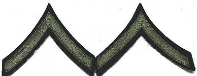 WWII US Private PFC PVT Stripe Patch olive green  on blue wool PAIR P2145