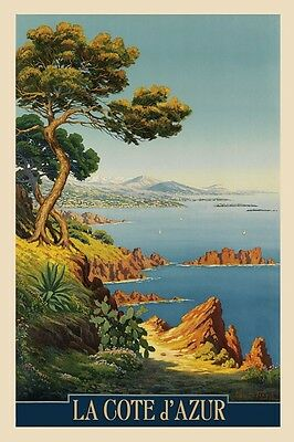 POSTER AGAY WINTER SUMMER BEACH COTE D/'AZUR FRANCE TRAVEL VINTAGE REPRO FREE S//H