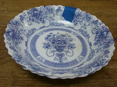 Arcopal France Honorine 2 Coupe Soup Cereal Bowls Blue Floral AS IS Yellowing