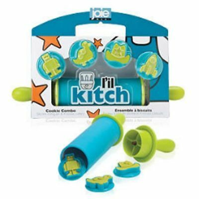 New Joie L'il Kitch Storage Rolling Pin & 4 Cookie Cutters Kids Baking Blue Sale