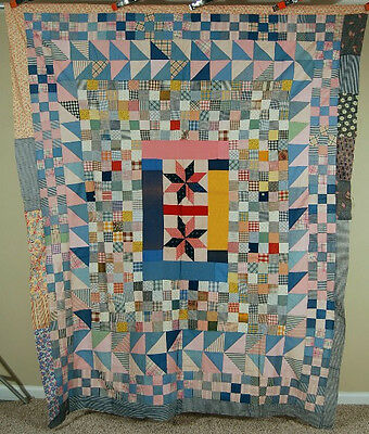 GORGEOUS Vintage 20's Medallion Stars Postage Stamp Quilt Top ~SAWTOOTH BORDERS!