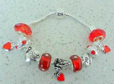 PERSONALISE LADIES/GIRLS CHARM BRACELET VALENTINE  RED SPARKLE BEADS & CHARMS