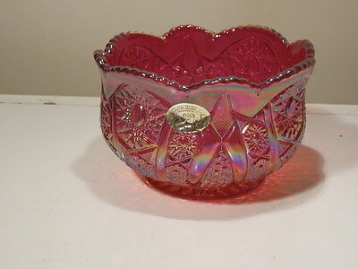 """GORGEOUS INDIANA HEIRLOOM SUNSET RED CARNIVAL BOWL 6 3/4"""" DIAMETER"""