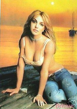 """BRITNEY SPEARS """"BRA & PANTIES AT SUNSET"""" POSTER FROM ASIA -Cute & Sexy Pop Star!"""