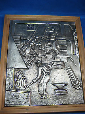 "Antique Made in Germany 14.5"" x 12.5"" Embossed Pewter Picture  w/ Oak Frame Nice"