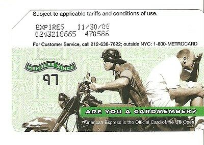 Vintage US OPEN MENS DOUBLES Tennis Metrocard - Expired 2000 NYC - Motorcycle