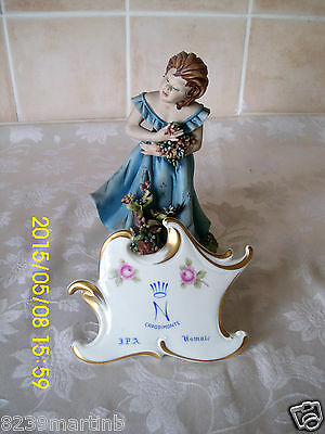 Capodimonte Figure Girl In A Blue Dress By Germano Cortese Model No 100