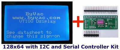 I2C or Serial 128x64 LCD controller (BV4611) with optional blue LCD display 4611