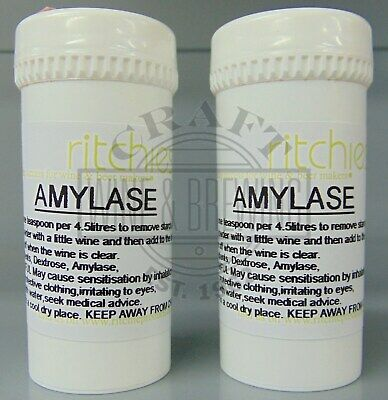 2 x 25gm Amylase Enzyme Remove Starch Haze From Homebrew Country Hedgerow Wines
