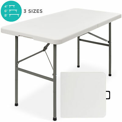 BCP 4ft Portable Folding Plastic Dining Table w/ Handle, Lock - White