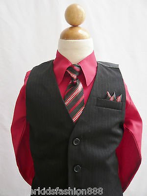 Black apple red boy vest and neck tie ring bearer formal suit wedding party set