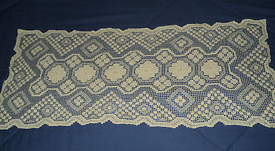 Vintage Tan Knit Table Runner - Rectangle Floral 31 x 14