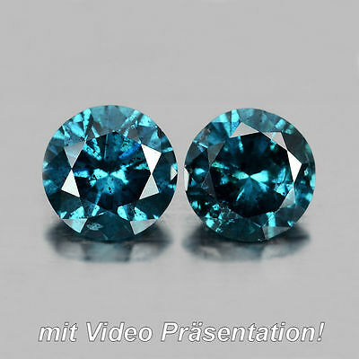 0.42 ct. Edles Paar runde 3.8 mm Fancy Blue Brillantschliff  Diamanten