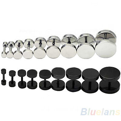 1 Pair 2Pcs Mens Black Silver Barbell Punk Gothic Steel Ear Studs Earrings