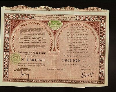 AFRICA MOROCCO  Government Bond Empiure Cherifien Emprunts 1929/1932